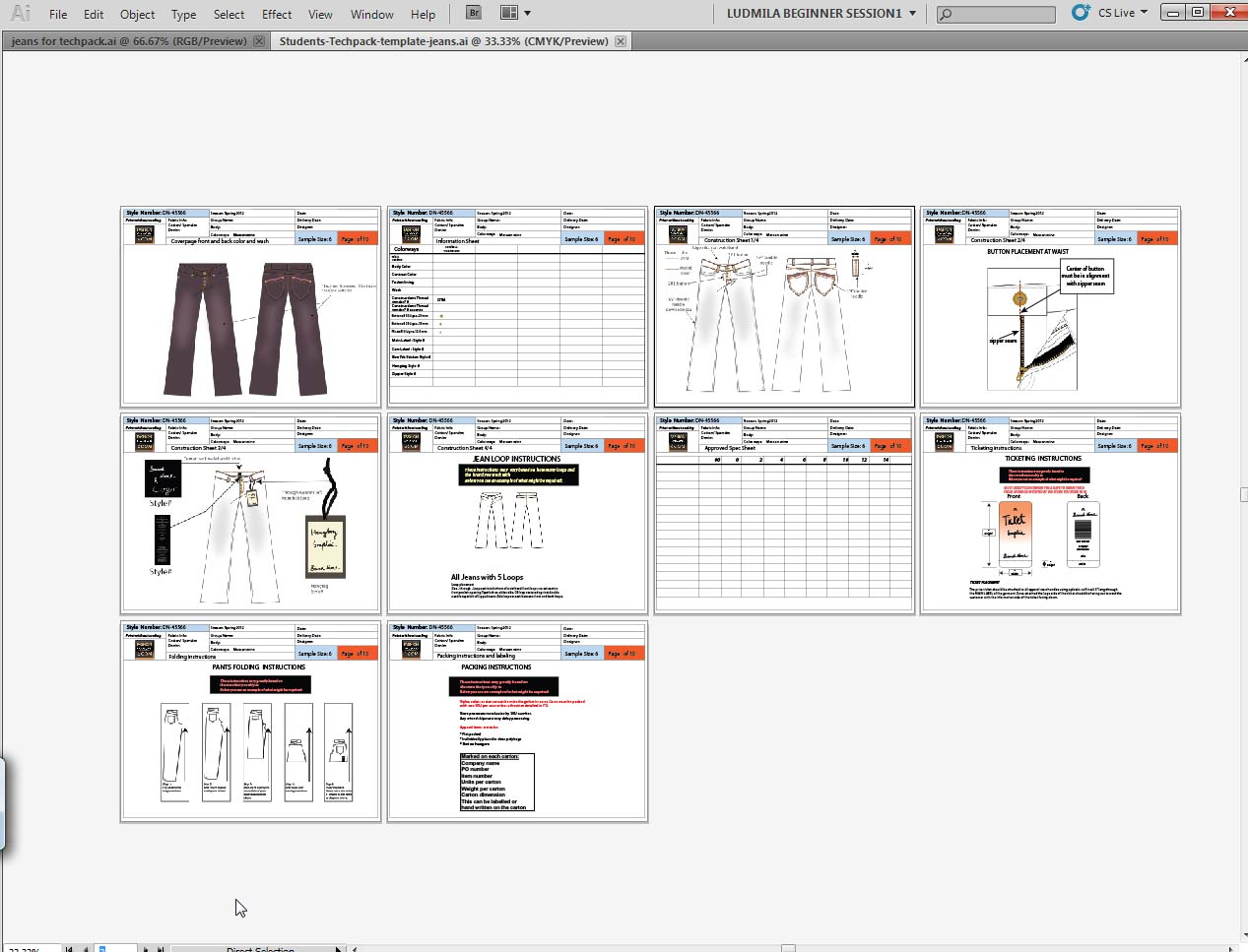 Fashion Techpacks In Illustrator Cs5 For Shipping