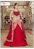 womens raw silk scarlet red lehenga choli