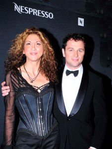 FDM editor Brigitte Segura with Brothers & Sisters actor Mathew Rhys at the Emmy International award ceremony on FDM fashiondailymag.com