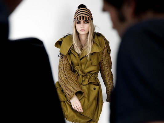 Cara Delevingne behind the scenes at the Burberry Spring Summer 2012 ad campaign