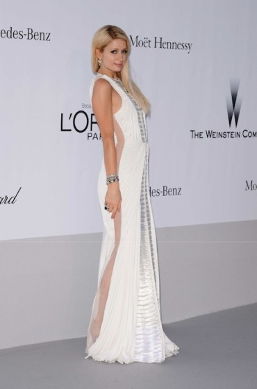 PARIS HILTON wearing BASIL SODA at AMFAR at the 65th annual cannes film festival