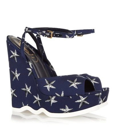 YSL riviera starfish print canvas platforms in blue PILATI's YSL