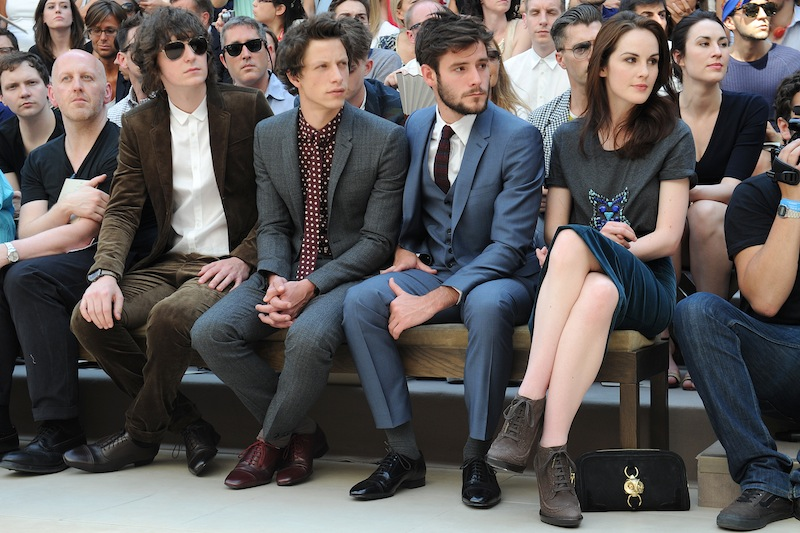 George Craig, Rob Pryor, Roo Panes and Michelle Dockery at the Burberry Prorsum Menswear Spring-Summer 2013 Show