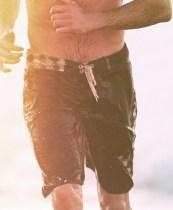 sporty hugh jackman in swim trunks at MrPorter