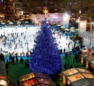citipond bryant park tree lighting nyc blue fashiondailymag