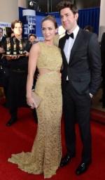Emily Blunt and John Krasinski with Moet & Chandon at the 70th Golden Globes