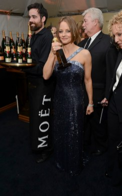 Jodie Foster enjoys her Golden Globe win at the Harvey Weinstein after party to the Golden Globes with Moet & Chandon. Credit Michael Kovac copy