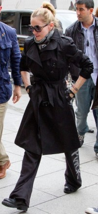 Madonna in Burberry in paris | FashionDailyMag