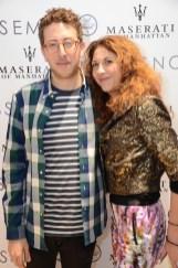 brigitte segura with Timo Weiland 's Alan Eckstein for Gnossem's pop-up at Maserati showroom feb 22