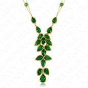 DiamondEnvy 17.18 Carat Natural Emerald and Yellow Diamond Necklace in 18K Yellow Gold