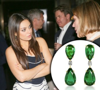 Mila Kunis Wearing Emerald Earrings by DiamondEnvy