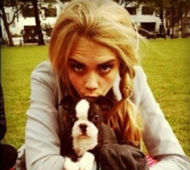 Cara Delevingne and dog art4animals FashionDailyMag