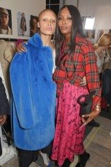 LONDON, ENGLAND - SEPTEMBER 16: Adwoa Aboah (L) and Naomi Campbell wearing Burberry at the Burberry September 2017 at London Fashion Week at The Old Sessions House on September 16, 2017 in London, England. Pic Credit: Dave Benett