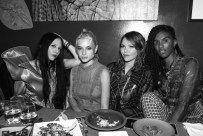 B Akerlund, Valentina Cytrynowicz, (wearing Burberry), Eleanor Wells, (wearing Burberry), Ari Fitz, (wearing Burberry)