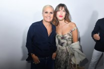 PARIS, FRANCE - SEPTEMBER 24: Maria Grazia Chiuri and Jeanne Damas pose backstage after the Christian Dior show as part of the Paris Fashion Week Womenswear Spring/Summer 2019 on September 24, 2018 in Paris, France. (Photo by Victor Boyko/Getty Images) *** Local Caption *** Maria Grazia Chiuri; Jeanne Damas