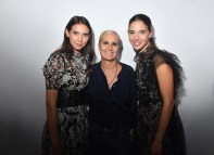 PARIS, FRANCE - SEPTEMBER 24: Maria Grazia Chiuri pose backstage with Viola and Vera Arrivabene after the Christian Dior show as part of the Paris Fashion Week Womenswear Spring/Summer 2019 on September 24, 2018 in Paris, France. (Photo by Victor Boyko/Getty Images) *** Local Caption *** Maria Grazia Chiuri; Viola Arrivabene; Vera Arrivabene