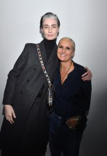 PARIS, FRANCE - SEPTEMBER 24: Erin O'Connor and Maria Grazia Chiuri pose backstage after the Christian Dior show as part of the Paris Fashion Week Womenswear Spring/Summer 2019 on September 24, 2018 in Paris, France. (Photo by Victor Boyko/Getty Images) *** Local Caption *** Maria Grazia Chiuri; Erin O'Connor