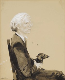 10151 Lot 1, Jamie Wyeth, Andy Warhol Sitting with ArchieSOTHEBYS NOV 2019 ph sothebys FashionDailyMag fashion brigitteseguracurator