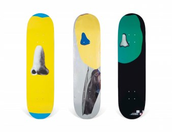 A SET OF THREE JOHN BALDESSARI NOSE SERIES SKATEBOARDS