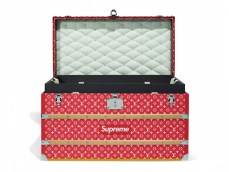 295_A LIMITED EDITION RED & WHITE MONOGRAM MALLE COURRIER 90 TRUNK WITH SILVER HARDWARE BY SUPREME_open SUPREME OBJECTS handbags x hype christies FashionDailyMag fashion brigitteseguracurator