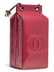 A DARK PINK PATENT LEATHER MILK CARTON BAGCHANEL and BIRKIN handbags x hype christies FashionDailyMag fashion brigitteseguracurator