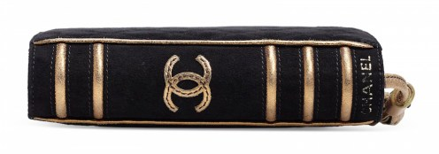 A RUNWAY BLACK & GOLD SUEDE BIBLE CLUTCH-dCHANEL and BIRKIN handbags x hype christies FashionDailyMag fashion brigitteseguracurator