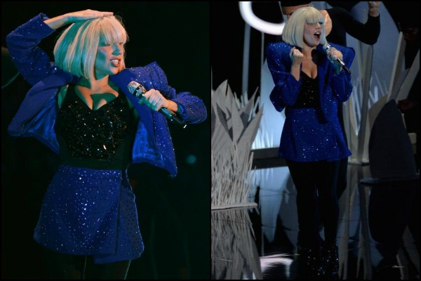 Lady Gaga in blue suit at VMA 2013