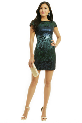 Dream in turquoise! This faux sequin shift by Nanette Lepore will have you shimmering til dawn on your next night out