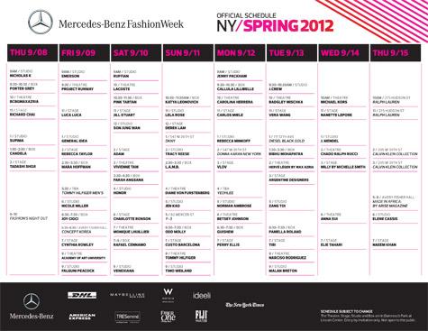 NYFW Spring 2012 schedule FDG