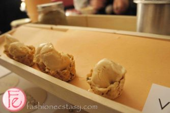 Duck Liver Ice Cream Cones with Saskatoon Berry Preserve by David Chrystian Victor