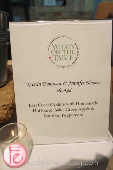 East coast oysters with homemade hot sauce, sake, green apple & bourbon peppercorn by Kristin Donovan & Jennifer Mooers, Hooked @ 2012 What's On The Table