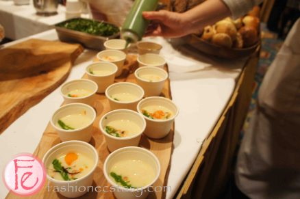 Leek potato chowder with warm salmon & mussel salad by Chef Amira Becarevic, Epic at the Fairmont Royal York (paired with Rickard's Red) - 2012 Ocean Wise Chowder Chowdown Toronto