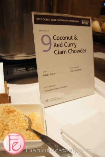 Coconut & red curry clam chowder by Chef David Kokai, Loic Gourmet - 2012 Ocean Wise Chowder Chowdown Toronto