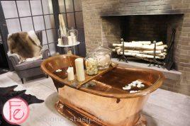 IKEA's vintage bathroom display with vintage copper bathtub