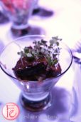 Ford's Blue Party - Edible Tini- Short rib tini made with bourbon based ribs on purple potato salad in sweet onion dressing