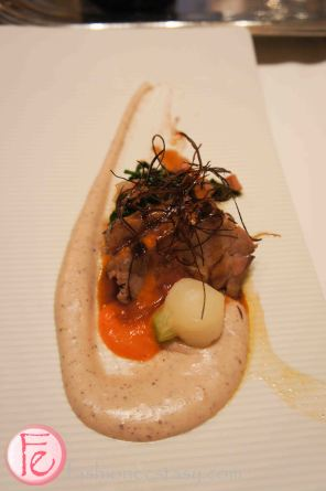 chipotle garlic poasted Ontario lamb shoulder with blue corn polenta & chorizo swiss chard by Chef Amira Becarevic, Epic
