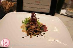 Lamb duo - tataki made with shiso leaf pesto & confit with truffle flavoured shitake & shimeji mushroom served with kale salad & yuzu mustard dressing by executive chef Ryo- Ozawa, Edo far beyond sushi