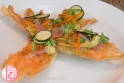 zucchini flowers with curried chickpeas and jalapeno