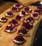 Drake Hotel Beet & Pear Bruschetta on Homemade Spiced Loaf with Fresh Ricotta at eat to the beat 2014