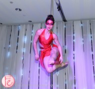 acrobatic pole dancers at riobel 20th anniversary party