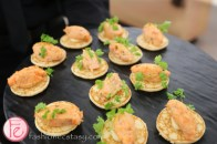 mini trout pancakes hors d'oeuvre well dressed for spring 2015