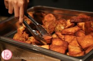 spicy potato balls and mandazi