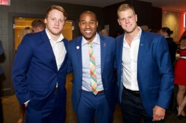 all star gala 2015 Morgan Rielly (Toronto Maple Leafs), Cabbie Richards (TSN) and Peter Holland (Toronto Maple Leafs)