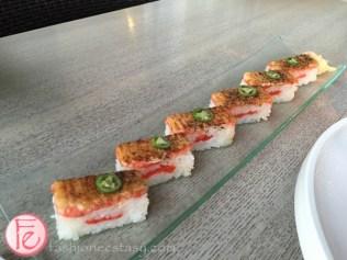 miku restaurant toronto signature aburi Salmon oshi sushi