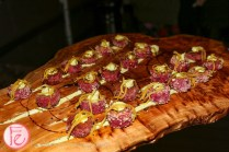 beet risotto served at harry rosen canada goose rooftop party