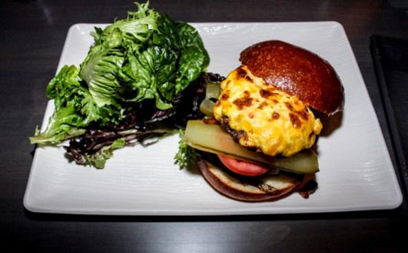 Entice burger with spicy mustard & cheddar spread