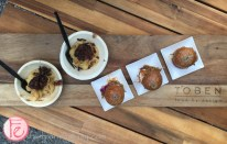 sliders and three-cheese mac and cheese with bbq brisket