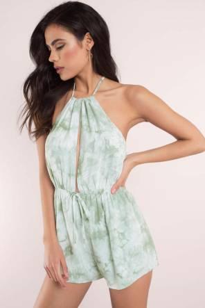 Tobi online fashion ARIANA MINT TIE DYE HALTER ROMPER