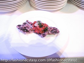 chef Duncan Ly of Foreign Concept's Beef Tartar on Black Puffed Rice.