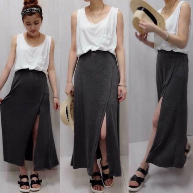 大彈力微性感開叉棉裙~ Super stretchy cotton skirt with front slit